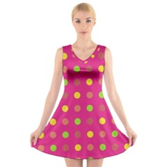 Polka dots  V-Neck Sleeveless Skater Dress