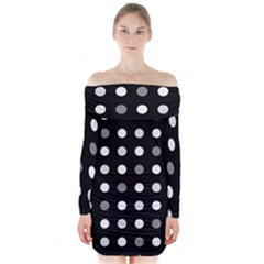 Polka dots  Long Sleeve Off Shoulder Dress