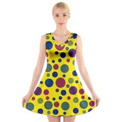 Polka dots V-Neck Sleeveless Skater Dress