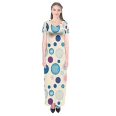 Polka dots Short Sleeve Maxi Dress