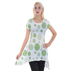 Polka Dots Short Sleeve Side Drop Tunic