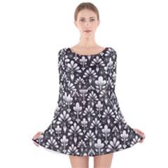 Pattern Long Sleeve Velvet Skater Dress
