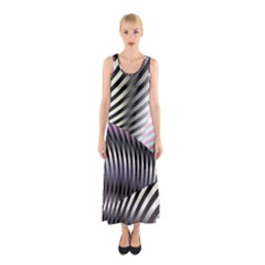 Fractal Zebra Pattern Sleeveless Maxi Dress