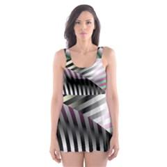 Fractal Zebra Pattern Skater Dress Swimsuit
