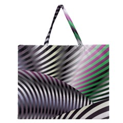 Fractal Zebra Pattern Zipper Large Tote Bag