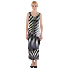 Fractal Zebra Pattern Fitted Maxi Dress