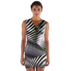 Fractal Zebra Pattern Wrap Front Bodycon Dress