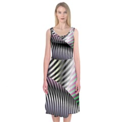 Fractal Zebra Pattern Midi Sleeveless Dress