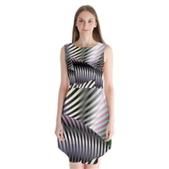 Fractal Zebra Pattern Sleeveless Chiffon Dress