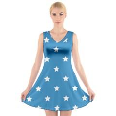 Stars pattern V-Neck Sleeveless Skater Dress