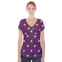 Stars pattern Short Sleeve Front Detail Top