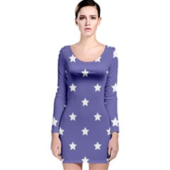 Stars pattern Long Sleeve Velvet Bodycon Dress