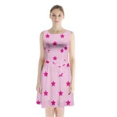 Stars pattern Sleeveless Chiffon Waist Tie Dress