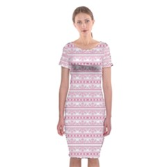 Pattern Classic Short Sleeve Midi Dress