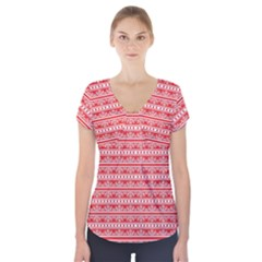 Pattern Short Sleeve Front Detail Top