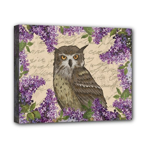 Vintage owl and lilac Canvas 10  x 8