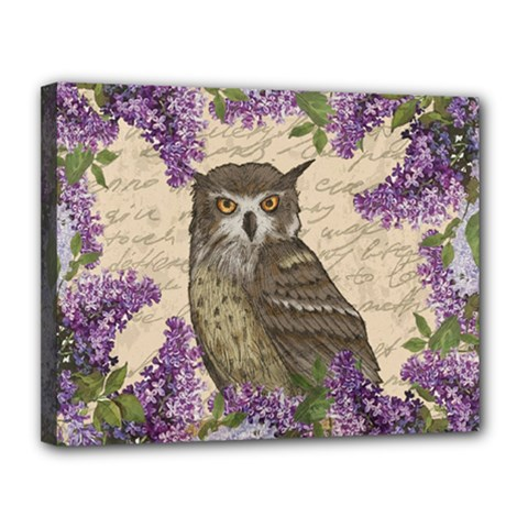 Vintage owl and lilac Canvas 14  x 11