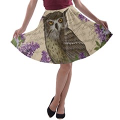 Vintage owl and lilac A-line Skater Skirt
