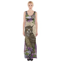 Vintage owl and lilac Maxi Thigh Split Dress