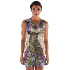 Vintage owl and lilac Wrap Front Bodycon Dress