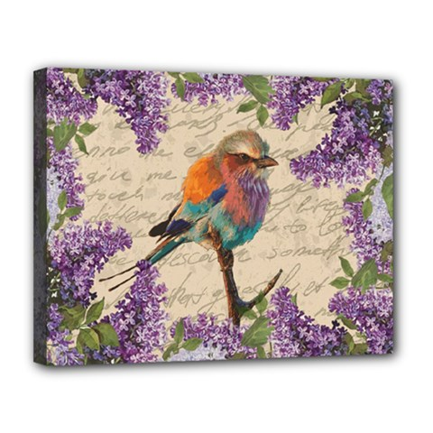 Vintage bird and lilac Canvas 14  x 11