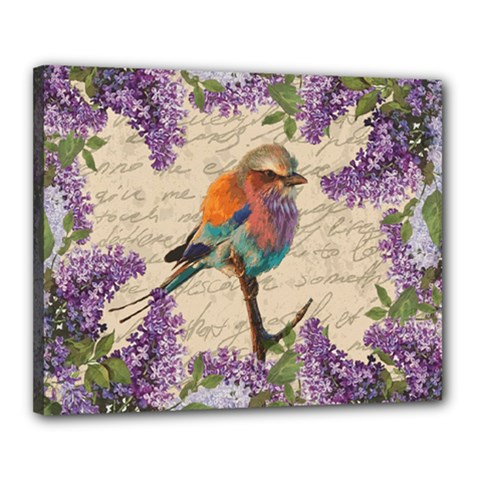 Vintage bird and lilac Canvas 20  x 16