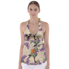 Vintage bird and lilac Babydoll Tankini Top