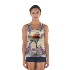 Vintage bird and lilac Women s Sport Tank Top