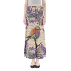 Vintage bird and lilac Maxi Skirts