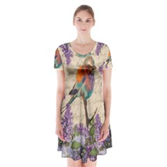 Vintage bird and lilac Short Sleeve V-neck Flare Dress