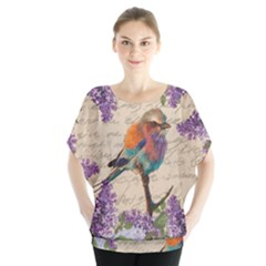 Vintage bird and lilac Blouse