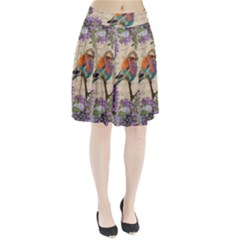 Vintage bird and lilac Pleated Skirt
