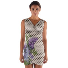 Vintage lilac Wrap Front Bodycon Dress