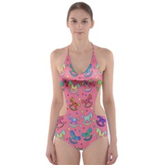 Toys pattern Cut-Out One Piece Swimsuit