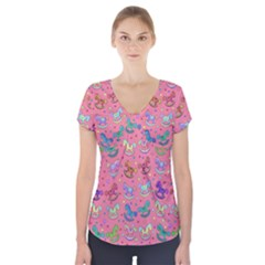 Toys pattern Short Sleeve Front Detail Top
