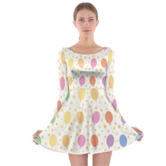 Balloon Star Rainbow Long Sleeve Skater Dress