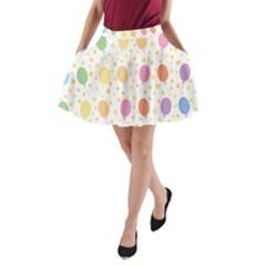 Balloon Star Rainbow A Line Pocket Skirt