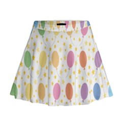 Balloon Star Rainbow Mini Flare Skirt
