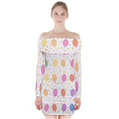 Balloon Star Rainbow Long Sleeve Off Shoulder Dress