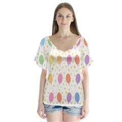 Balloon Star Rainbow Flutter Sleeve Top