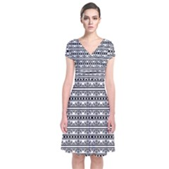 Pattern Short Sleeve Front Wrap Dress