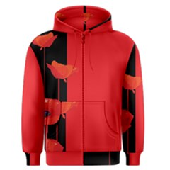 Flower Floral Red Back Sakura Men s Zipper Hoodie
