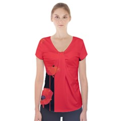 Flower Floral Red Back Sakura Short Sleeve Front Detail Top