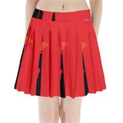 Flower Floral Red Back Sakura Pleated Mini Skirt