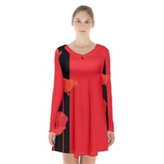 Flower Floral Red Back Sakura Long Sleeve Velvet V Neck Dress
