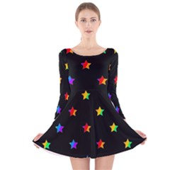Stars pattern Long Sleeve Velvet Skater Dress