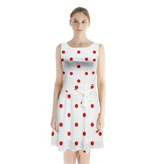 Flower Floral Polka Dot Orange Sleeveless Chiffon Waist Tie Dress