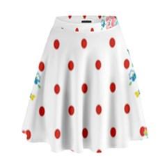 Flower Floral Polka Dot Orange High Waist Skirt