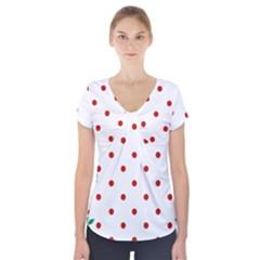 Flower Floral Polka Dot Orange Short Sleeve Front Detail Top