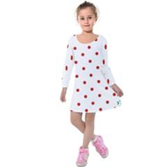 Flower Floral Polka Dot Orange Kids  Long Sleeve Velvet Dress